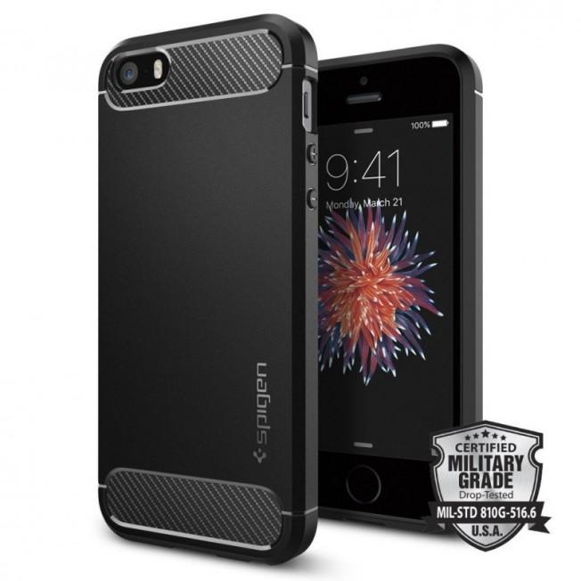 iPhone SE/5S/5 Coque Spigen RUGGEDARMOR Noir