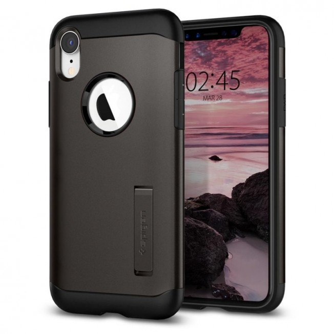 iPhone XR Coque Spigen SLIMARMOR Gris