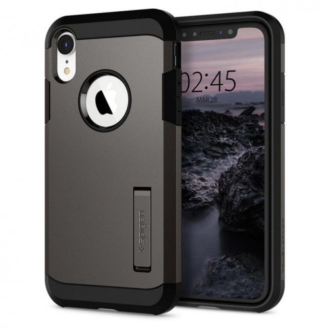 iPhone XR Coque Spigen TOUGHARMOR Gris
