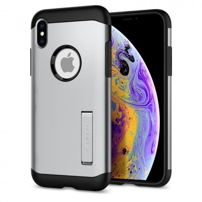 iPhone XS/X Coque Spigen SLIMARMOR Argent