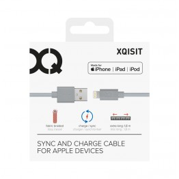 Lightning Cable Xqisit COTTON 180cm Argent