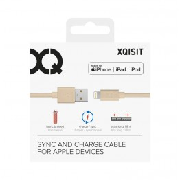 Lightning Cable Xqisit COTTON 180cm Or