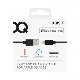 Lightning Cable Xqisit COTTON 180cm Noir