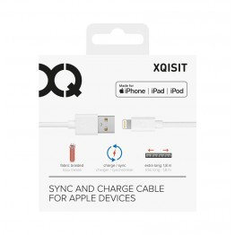 Lightning Cable Xqisit COTTON 180cm Blanc