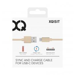Usb-C vers Usb-A Cable Data Xqisit Cotton 180cm Rose