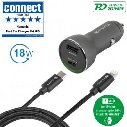 LIGHT-USBC Chargeur Auto 4Smarts POWERROAD 3A Noir