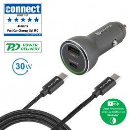 USBC-USBC Chargeur Auto 4Smarts POWERROAD 5.4A Noir