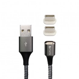 Usb-C x2 Cable 4Smarts Magnetique GRAVITYCORD 2.0 50cm Gris