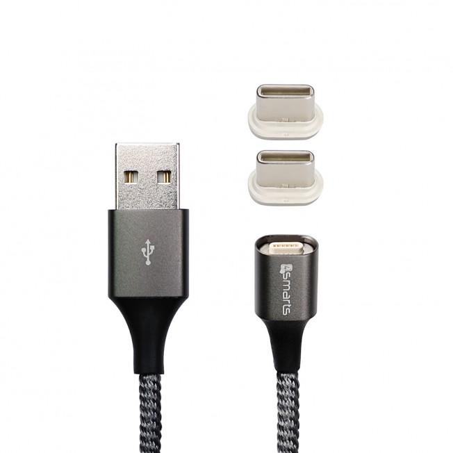 Usb-C x2 Cable 4Smarts Magnetique GRAVITYCORD 2.0 50cm Gris